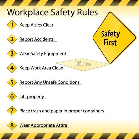 règle: Une image d'un tableau des r�gles de s�curit� en milieu de travail.