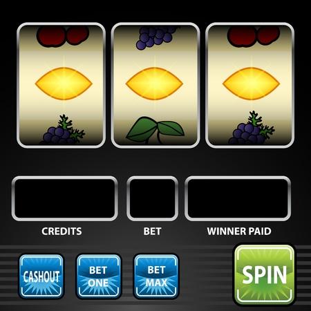 An image of a three lemon slot machine game. Vector