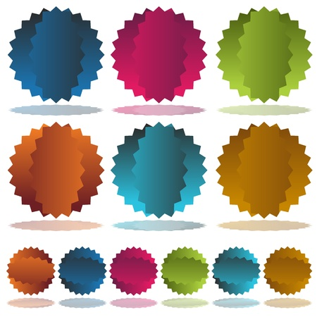 An image of a colorful starburst dent set. Vector