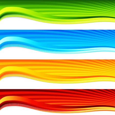 An image of a colorful wave sunrise banner set. Иллюстрация