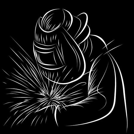 kaynakçı: An image of a welder in a scratchboard style. Çizim