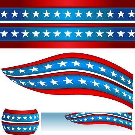Een beeld van een patriottische USA vlag banners.
