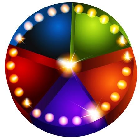 An image of a theatrical lights pie chart. Ilustração