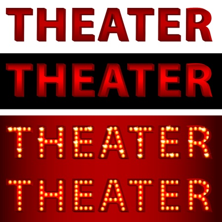 light show: An image of a theatrical lights 3D theater text.