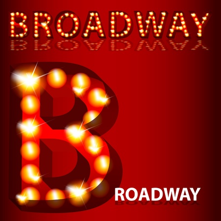 Una imagen de un teatro de texto 3D luces de Broadway. Ilustración de vector