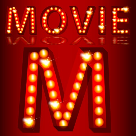 3 d illustrations: An image of a theatrical lights 3D movie text.