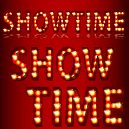 演劇のイメージに 3 D showtime テキストを点灯します。