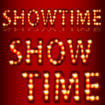 An image of a theatrical lights 3D showtime text. Vector