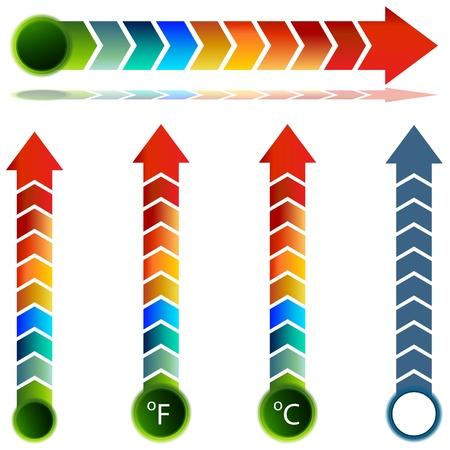 Een afbeelding van een thermometer de temperatuur pijl set.