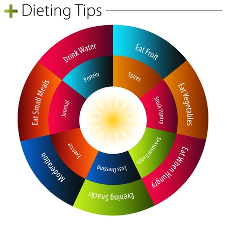 pie diagrams: An image of a dieting tips chart.