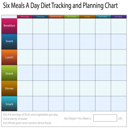 An image of a six meals a weekly day diet tracking and planning chart. Vector