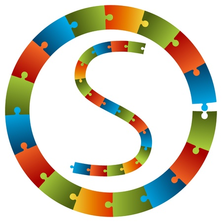 s curve: An image of a puzzle piece chart set. Illustration