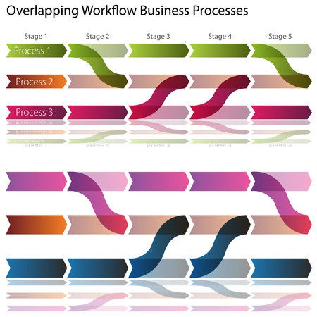 An image of a overlapping workflow business processes charts. Vector