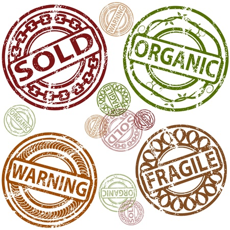An image of a set of sold, organic, warning and fragile rubber stamps. Vector