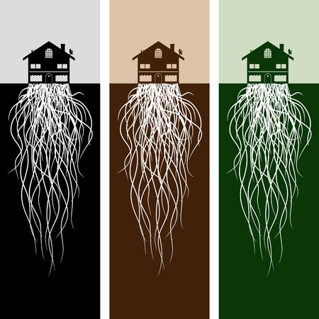settled: An image of house with roots.