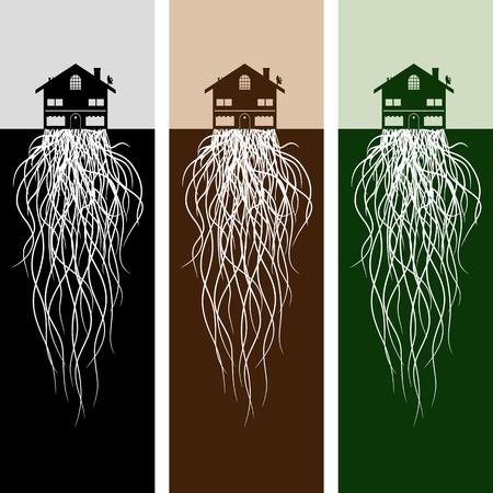 Une image de la maison avec des racines. Banque d'images - 12336914