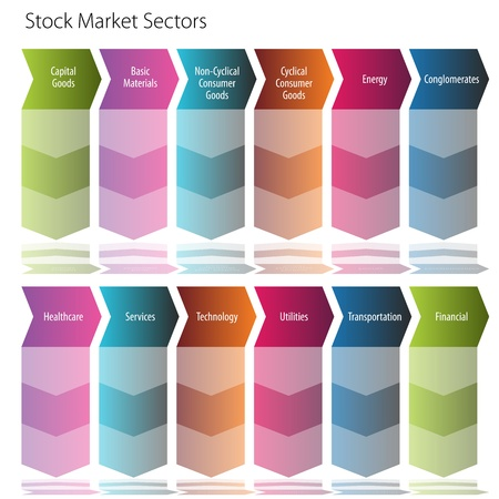 An image of a stock market sector arrow flow chart. Illustration