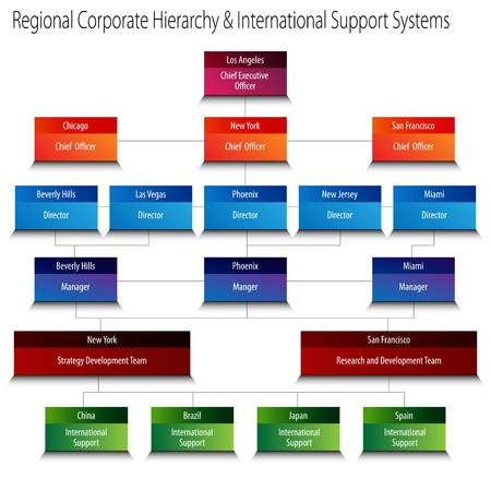 organization chart: An image of a regional corporate hierarchy org chart.