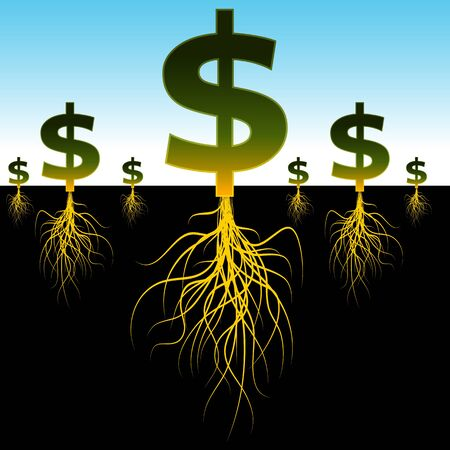 planted: An image of a planted dollar signs with long roots. Illustration