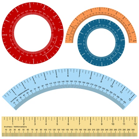 inches: An image of a millimeter inches ruller shape set.