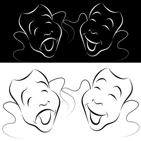 Una imagen de un conjunto de la máscara dramática línea de arte. Foto de archivo - 12336809