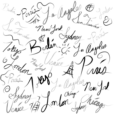 An image of a travel locations handwriting doodle. Vector