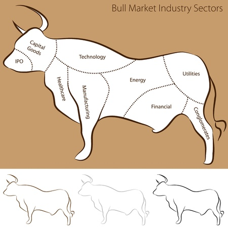An image of a bull market industry sectors chart. Stock Vector - 12488818