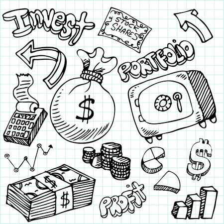 cartoon money: An image of a financial symbol doodle set.