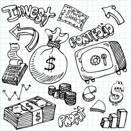 rekenmachine: Een beeld van een financieel symbool doodle set.