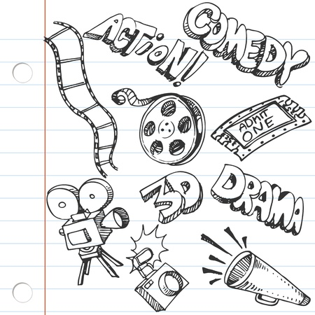 movie film: An image of a notebook paper entertainment doodles.