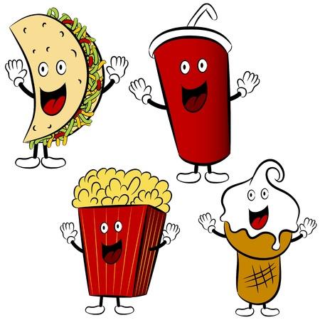 caricatura mexicana: Una imagen de una comida rápida Taco, refrescos, palomitas de maíz y las mascotas de helado de dibujos animados.