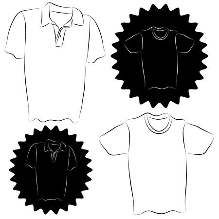 collared shirt: An image of a collared shirt and t-shirt set. Illustration