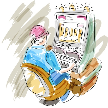 An image of a woman playing a slot machine. Vector