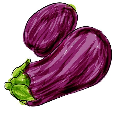 Een afbeelding van een paarse aubergine aquarel tekening.