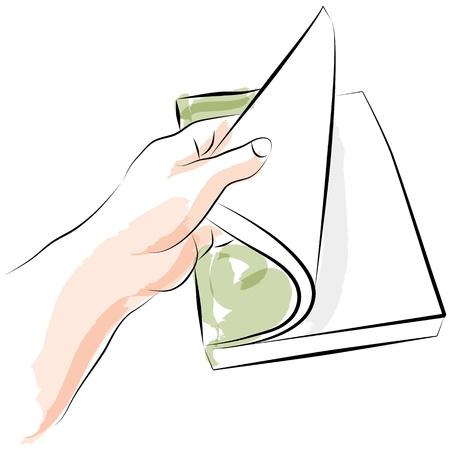 Een afbeelding van een hand opening boek.