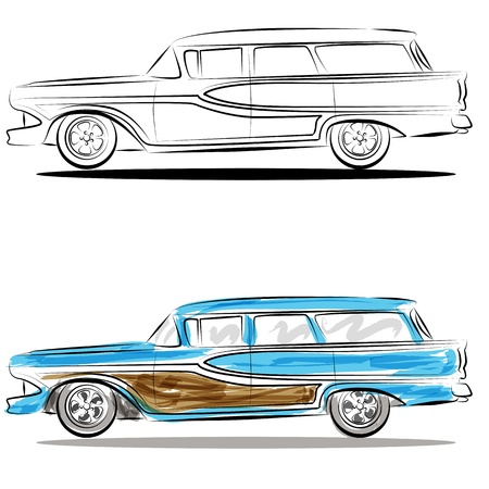 hotrod: An image of a watercolor station wagon line art.