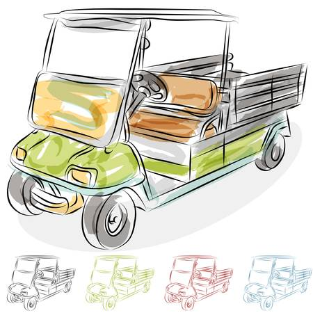 An image of a watercolor golf cart.