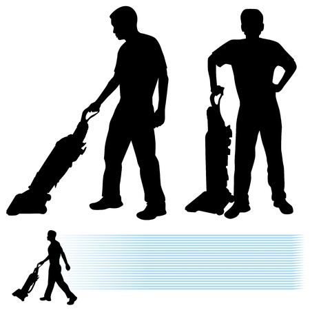 An image of a man using a vacuum cleaner. Ilustracja