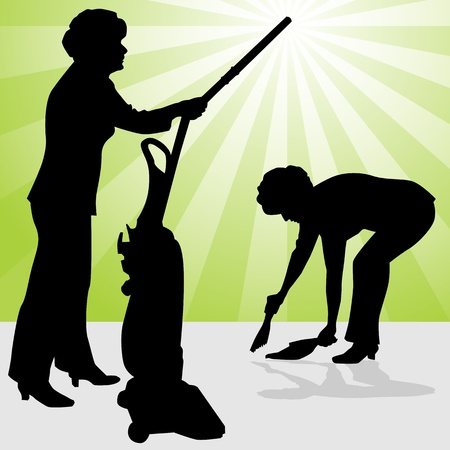 dust pan: An image of a senior woman using a vacuum and dust pan.