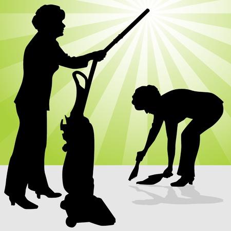 Een beeld van een senior vrouw met een stofzuiger en stof pan. Stock Illustratie