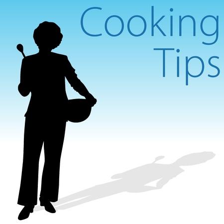 tippek: Egy kép a főzési tippeket nő, kezében egy kanalat és keverő tálba.