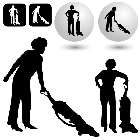 cleaner vacuuming: An image of a housekeeping buttons and silhouettes.