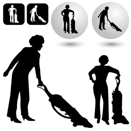 vacuuming: Un'immagine di alcuni pulsanti di pulizia e silhouette. Vettoriali