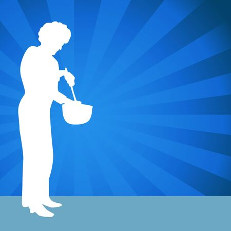 stirring: An image of a woman using a mixing bowl.
