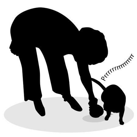 An image of a silhouette of a woman feeding a cat.