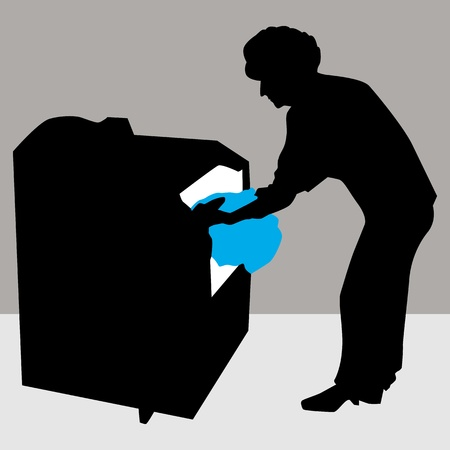 An image of a woman using a dryer machine. Vector
