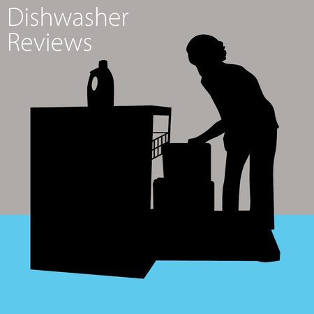 An image of a woman using a dishwasher. Vector