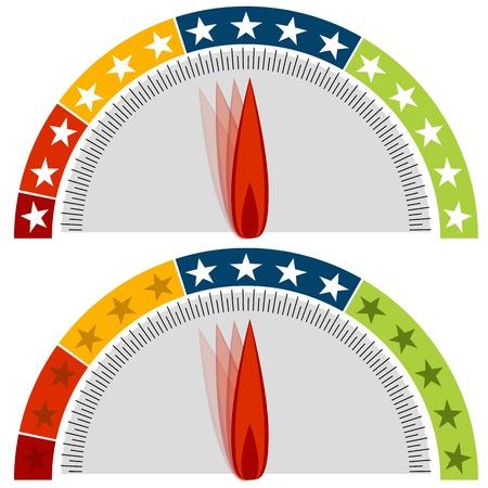 star rating: L'immagine di un gruppo manometrico stelle. Vettoriali