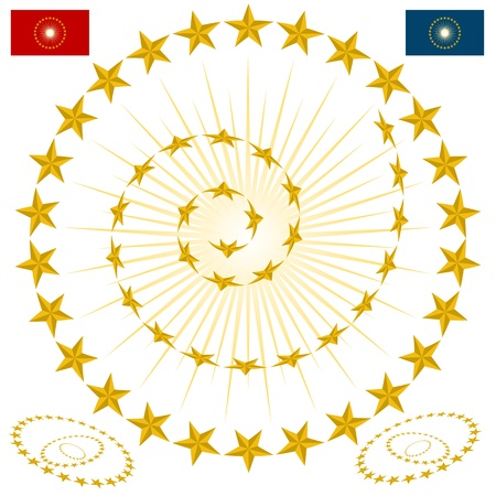 An image of a beveled gold star design elements. Vector