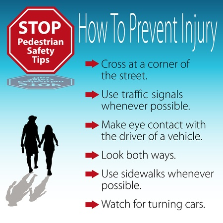 the crossing: An image of a pedestrian safety tips poster.